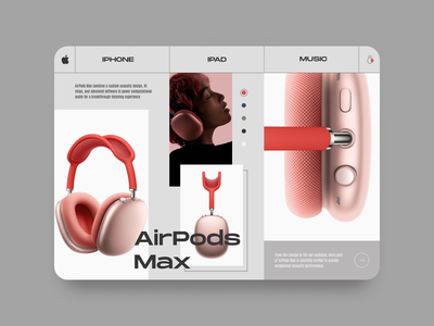 Apple AirPods Max  E Commerce Concept UI figmadesign daily 100 challenge product design ux ui figma hero section airpods landing page apple