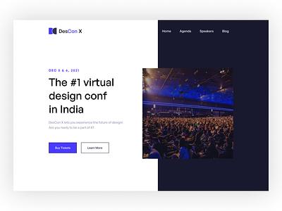 DesConX Landing Page Design web landing page virtual conference web design figmadesign design ux ui figma