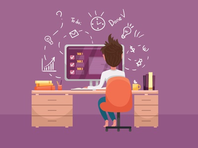 Freelancer working from home. Distance working quarantine quarantine life online work cute character illustrator art vector design illustration distance working