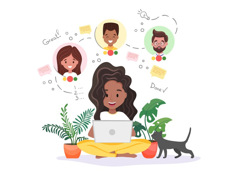 Beautiful freelancer is working online from home colleague friends cat plants lotus distance working quarantine life quarantine cute character illustrator art vector design illustration