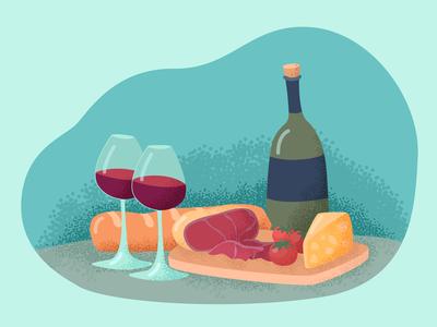 Wine food vector illustration....yami yami)