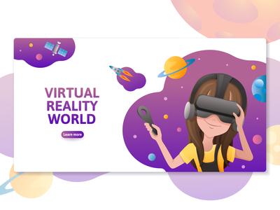 Virtual reality website templates set.