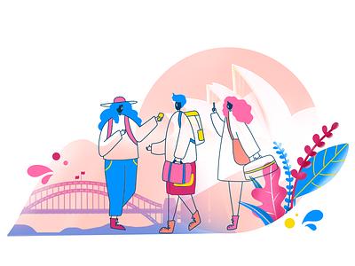 Let's Travel illustration art director design pink digital art digital drawing design character digital 2d illustration