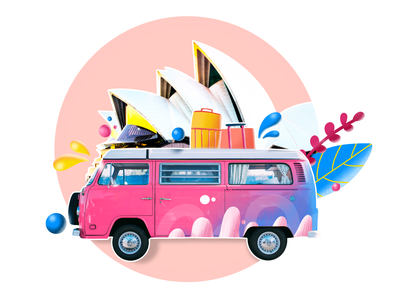 Travelling Bus 2 travel pink digital 2d digital art digital drawing illustration