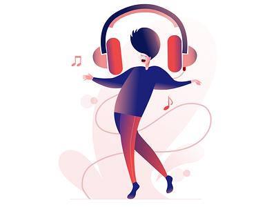 Feeling the beat digital drawing sketch app sketch pink digital 2d digital art illustration art director design music