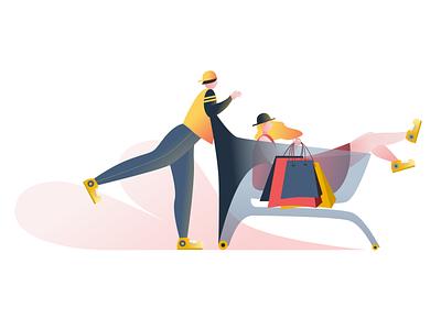 Shopping characters design digital drawing sketch app sketch drawing yellow pink digital 2d design landing page illustration digital art bright color illustration art director design