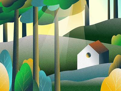 Landscape illustration yellow green forest digital 2d sketch sketch app digital art design digital drawing landing page illustration bright color illustration art director design
