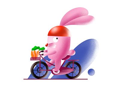 Bunny Cycling pink bunny character digital design digital art digital drawing digital 2d design illustration art director design illustration