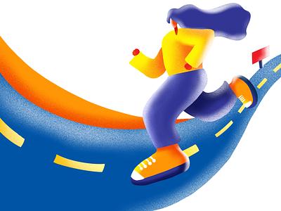 Jogging Illustration orange digital artwork character digital 2d digital illustration digitalart digital drawing illustration