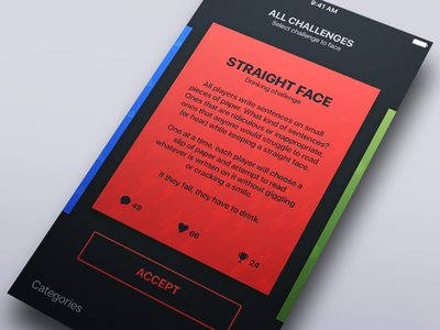 Challenge Accepted! gesture swipe cards game app ios challenge