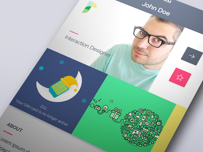 Johnfolio color layout flat profile gesture portfolio ios