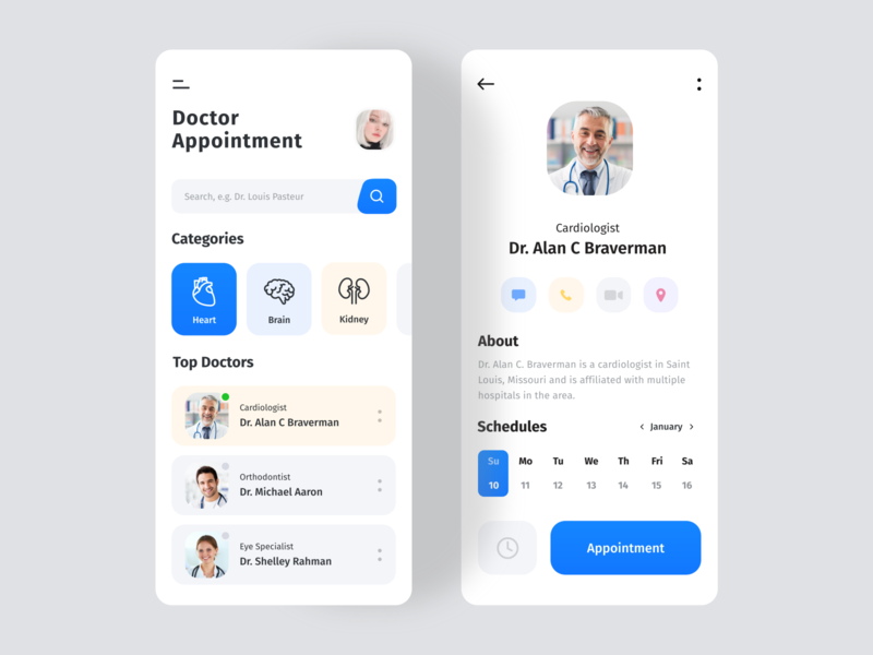 Doctor Appointments App 🩺 health app healthcare color doctor app ux ui medicine medical consultant clean blue ios android app simple minimal mobile appointment application app 2020 trend