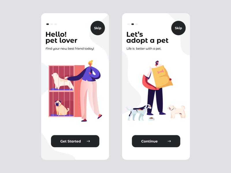 Onboarding - Mobile App UI color trendy uiux black  white animal pet onboarding ui ios ux ui clean mobile ui ui deisgn 2020 trend apps android app application mobile app design app