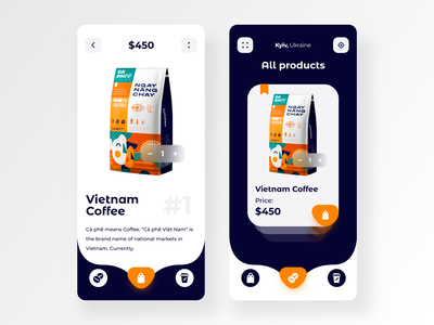 Coffee shop Mobile App  ☕   product page product page shopping shop blue clean uxui mobile app design coffee shop coffee mobile app mobile ui mobile uiux minimal app android app product design ui deisgn ios ui