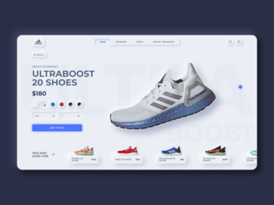 Adidas Product Page - Neumorphism Concept Design
