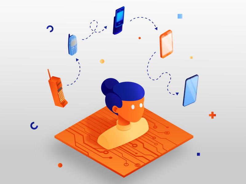 Phones evolution progress illustrator orange scheme phone girl gradient isometry illustration