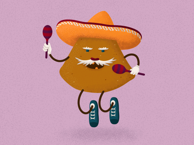 Nachos-muchachos texture sombrero chips maracas music funny mustache brushes nachos noise mexican old man characterdesign character illustrator