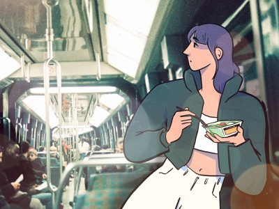 Lunch in the metro art photography fashion paris colour design style illustration drawing