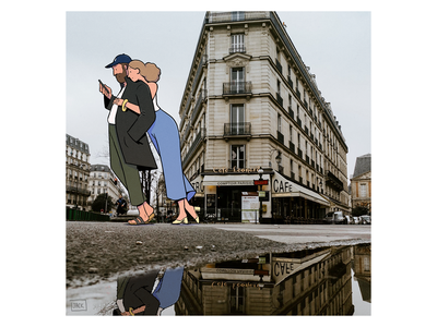 Summer rain in Paris logo fashion paris colour design style illustration drawing