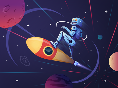 Illlustration Robot Skate Galaxy galaxy rocket robot quarantine graphic design flat vector illustration design branding