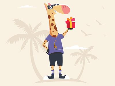 Giraffe Mascot mascot character mascot giraffe clean logo vector illustration flat design branding