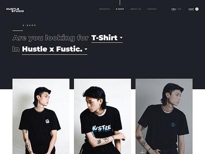 Hustle Studio E-Shop Page fashion brand e-shop page product page e-shop vector minimal illustration website web flat ux ui design branding