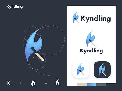 Kyndling Blue 2d art flat clean graphic design fire kindle branding vector minimal logo illustration design