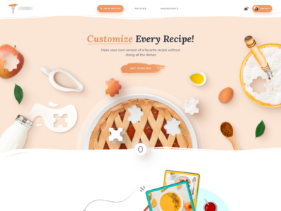 Cooking website homepage