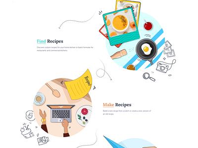 Cooking Blog Website Design blog cooking 2d art homepage design clean website web illustration flat ui ux design branding