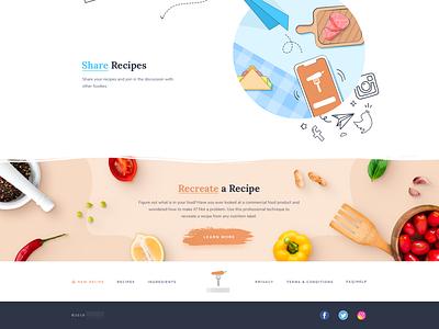 Cooking website footer cooking footer design homepage design clean website web illustration flat design ux ui branding