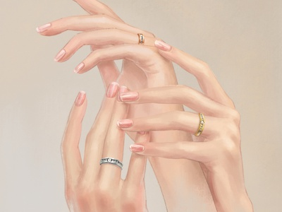 Jewelry hands hand drawn jewelry hand lady ring art illustration