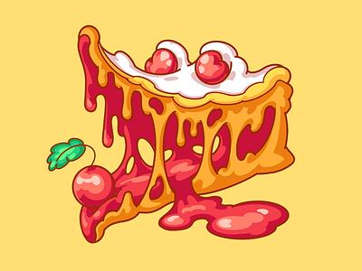 CrocoPie berry jam yummy cheesecake sweet art illustration cake cherry crocodile pie