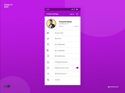 Profile Settings - DailyUi Challenge 007 creative design mobile app design mobile design ux uiux user experince user interface app design ui