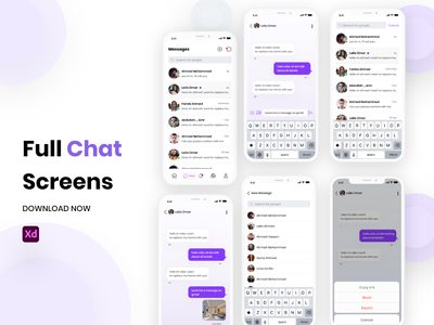 Full Chat Screens (with prototype) xd ios messages chat ux ui app