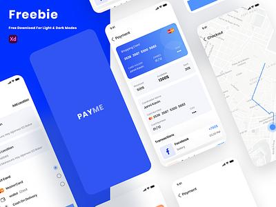 Free Payment App Screens (Light & Dark Modes) dark mode ui kit ux ui xd payment app app