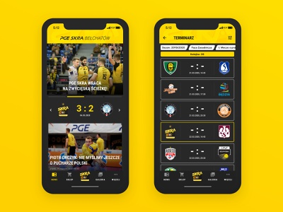 PGE Skra Bełchatów — official app android ios volleyball ui mobile app mobile