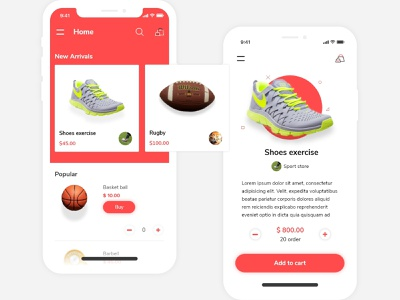 Sports shop app android simple ios app ux ui ecommerce shop exercise sports clean