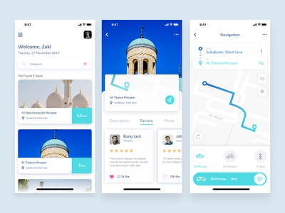 Exploration The Mosque app finder muslim travel simple icon ui  ux design ux ui navigation map maps clean android ios app