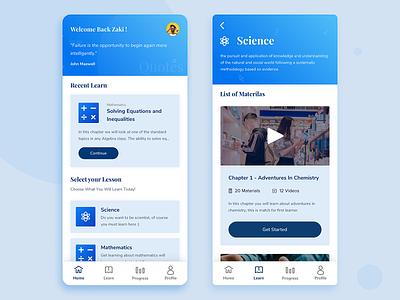 Learn App UI Exploration ui design blue uiux uidesign android dailyui mobile ui education app education ios mobile icon ux uiuxdesigner clean simple app ui