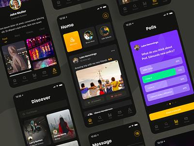Social App Exploration exploration student social app social social media dark ui dailyui ios app simple ui