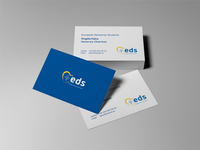 Business cards for EDS branding concept consistency identity eu european european democrat students stationery design stationery mockup logo organisation students europe cards business cards brand identity branding