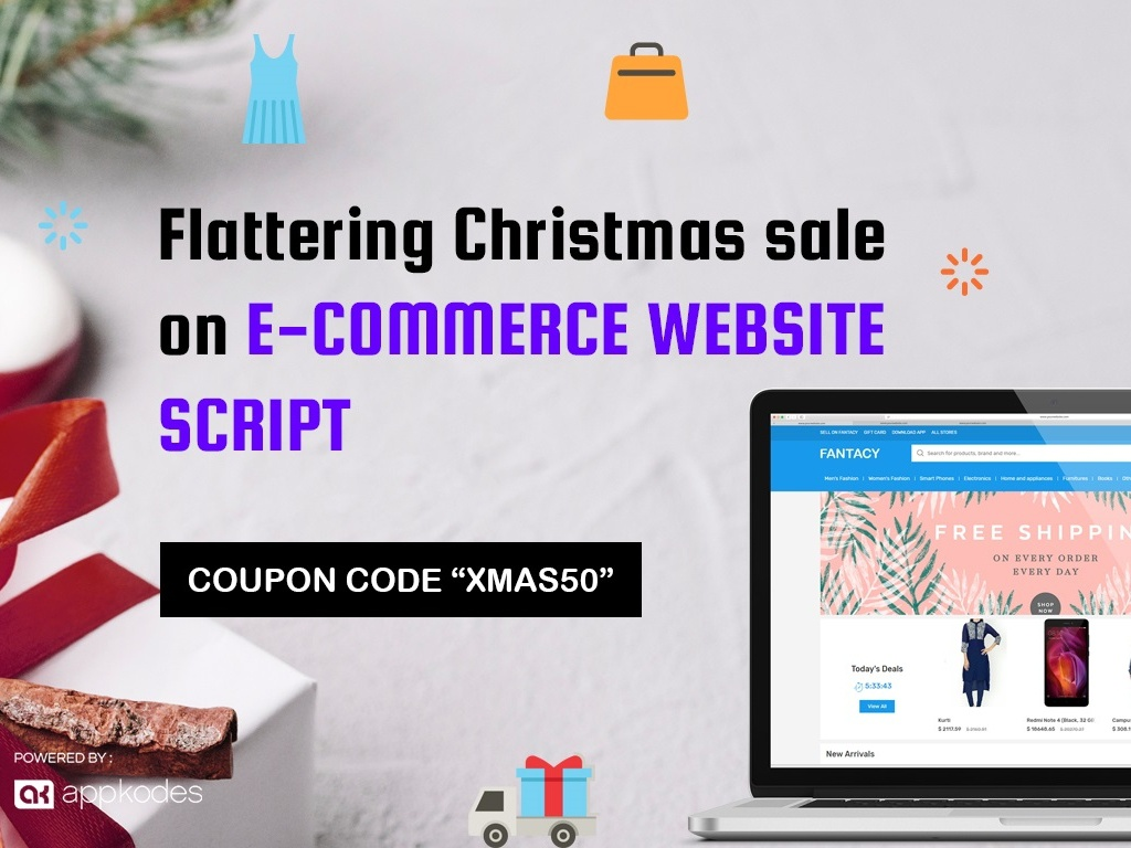 Flattering Christmas Sale 50% Off On E-Commerce Website Script by