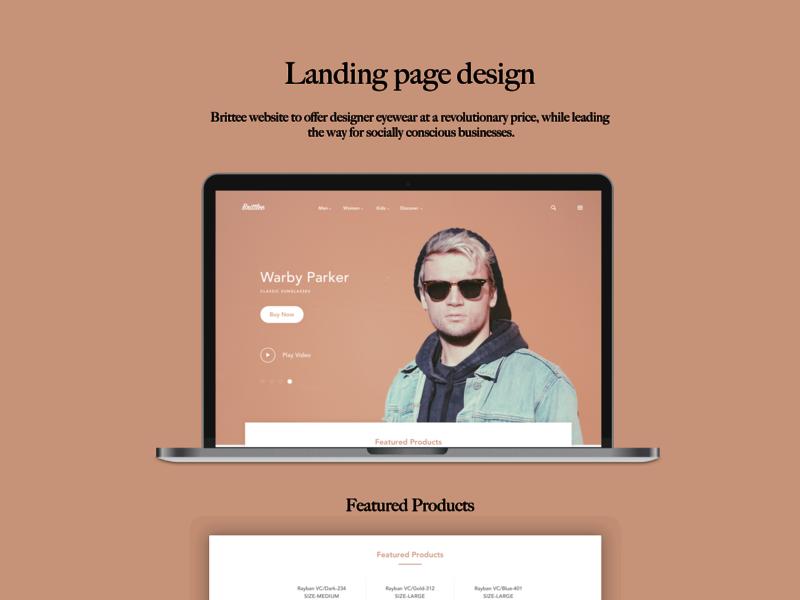 Brittee-Landing page design ui ux uidesign uxdesign eyeglasses sunglasses web concept concept design webdesign website design