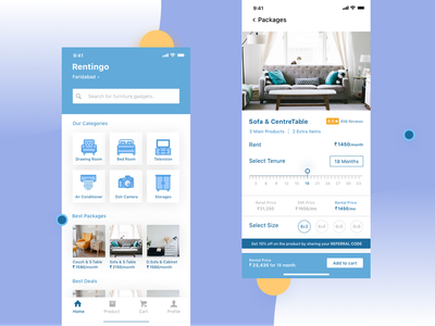 Rentingo-Online Rent Furniture ios app ui ux earn refer offers deals add to cart minimal clean rental app rent appliances cabinet sofa couch furniture ecommerce app
