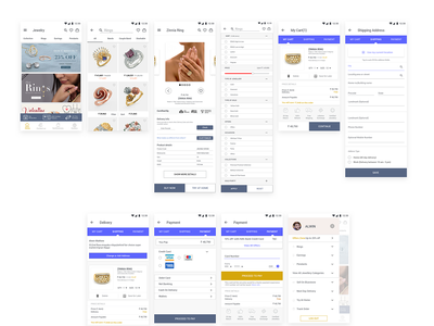Ecommerce Jewellery App android app design clean minimal ecommerce app mobile app ux ui profile page payment form delivery shipping sort filter homescreen cart android app app design concept jewellery
