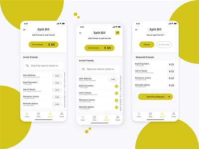Split The Bill App - UI Concept ios10 ios app minimal clean design app uxdesign ux uidesign ui concept payment pay send order equal invite bill