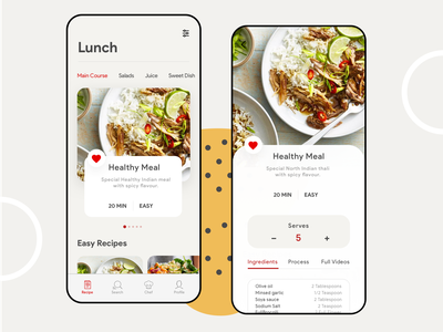 Food Recipe App intuitive simplistic minimal clean android app ui ux concept design concept video process ingredients filter settings profile chef search food app recipe