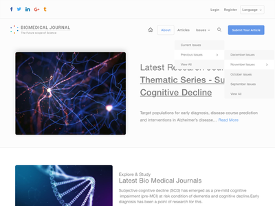 BIOMEDICAL JOURNAL ux design minimal clean ui  ux concept website design search filter homepage submit issues articles research medical care medicine gene medical biology biomedical