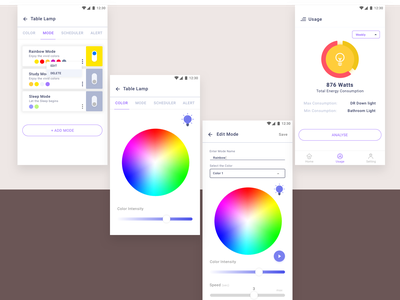 Smart Bulb App uidesign uxdesign android app concept design clean design simple analyse usage alert scheduler color picker color mode bulb smart device smart home smart bulb
