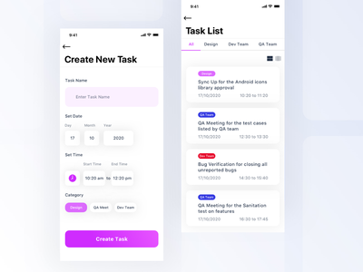 Task Management App ui design ux design concept design simple clean design minimal card view list view team work category project management mobile app task management task list